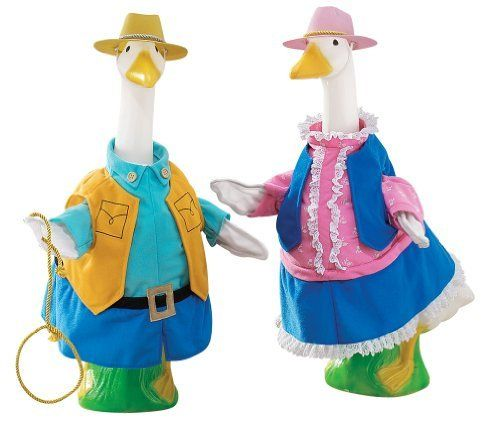 Cowgirl and Cowboy Goose Outfits by Miles Kimball by Miles Kimball. $19.99. Donning frontier fashions and 10-gallon hats, your geese will be dressed in down-home style! Cowboy outfit includes vest, shirt, buckled belt and lasso; she's pretty in pink blouse, blue vest and matching skirt. 100% polyester; for indoor or protected outdoor use. Imported.