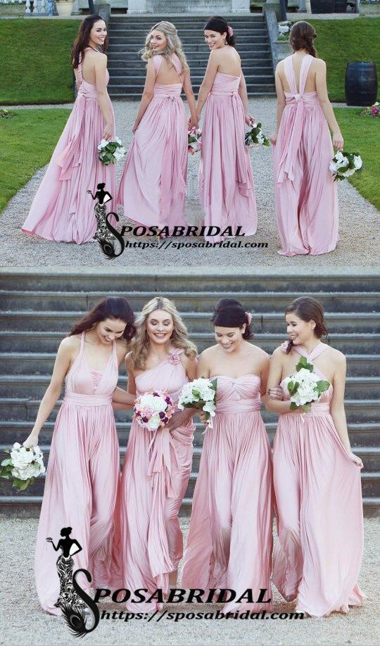 a7205f7210c1 Pink Mismatched Cheap Soft Elegant Bridesmaid Dresses, Hot Long Best Sale Bridesmaid  Dresses,WG341