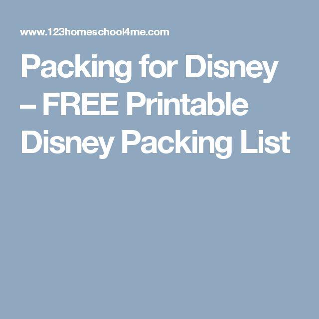 Packing for Disney – FREE Printable Disney Packing List