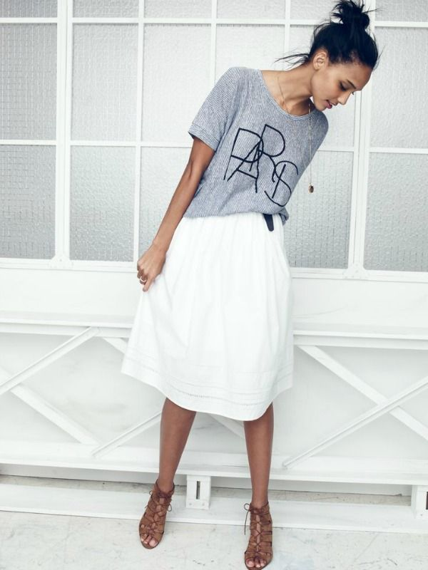casual tee and skirt