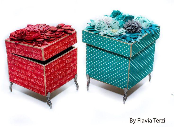 caixa decorada com papéis coleção familia e flores artesanais