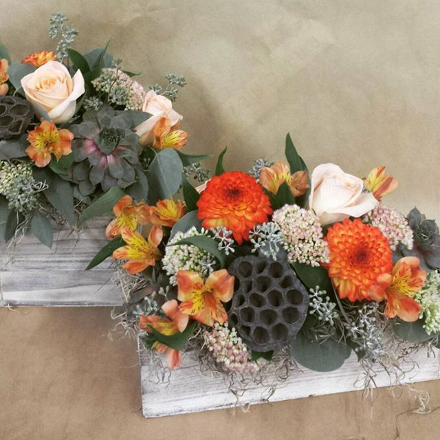 Some pretty amazing fall themed wedding centrepieces we made this weekend! #succulents #lotuspods #fallflowers #fallweddings