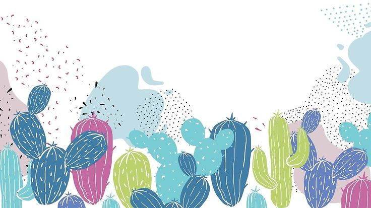 Colorful cactuses pattern by Miruna Illustration