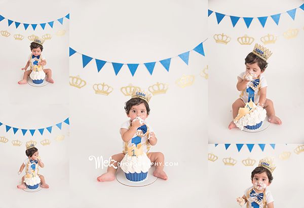 Adrian Liam, first birthday photos, blue and white cake smash photos, cake smash…