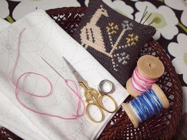下絵プリント済みってすばらしい  #刺し子 #刺し子ふきん #刺繍 #手刺繍 #籃胎漆器 #裁縫 #手芸 #embroidery #sashiko