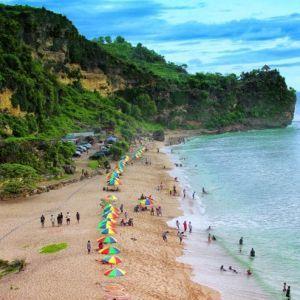 view from hill at pok tunggal beach yogyakarta