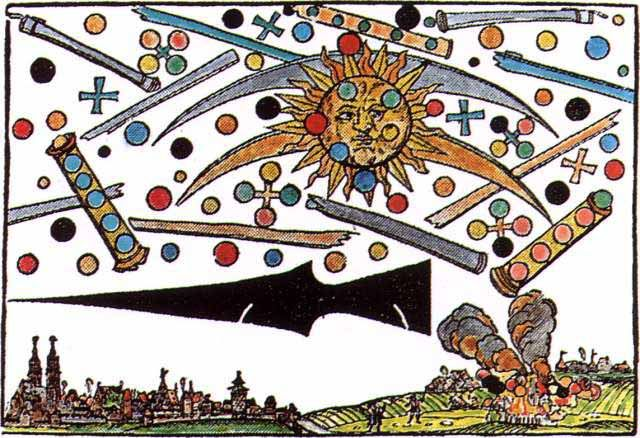 A wood cut found in Nurnberg Germany in 1561 depicts a large dark missile with a many others like it in the sky. Also depicted are globes, cylindrical space ships, and the sun. Many believe it shows humans witnessing a battle between aliens that was later recorded on the wood cut.: