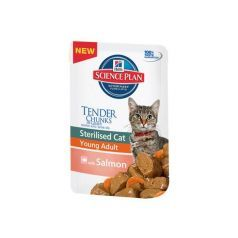 Hill's Feline sterilised cat adult salmon, konzerva 85gr Hrana za sterilisane macke, losos, konzerva... http://www.apetit.rs/hills-feline-sterilised-cat-adult-salmon-konzerva-85gr