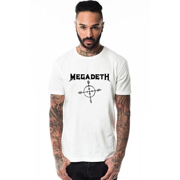 Megadeth Logo Heavy Metal Music Men Ink Print T-shirt Male White Printed Tshirt Graphic T-shirts Swag Street Man Clothes Gangsta #Affiliate