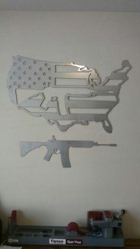 American Flag United States Wall Decor AR-15 by RynoFabMetalArt