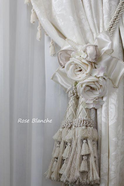 バラのカーテンクリップですばら  カーテンタッセルに挟むだけで、簡単に取り付け可能です