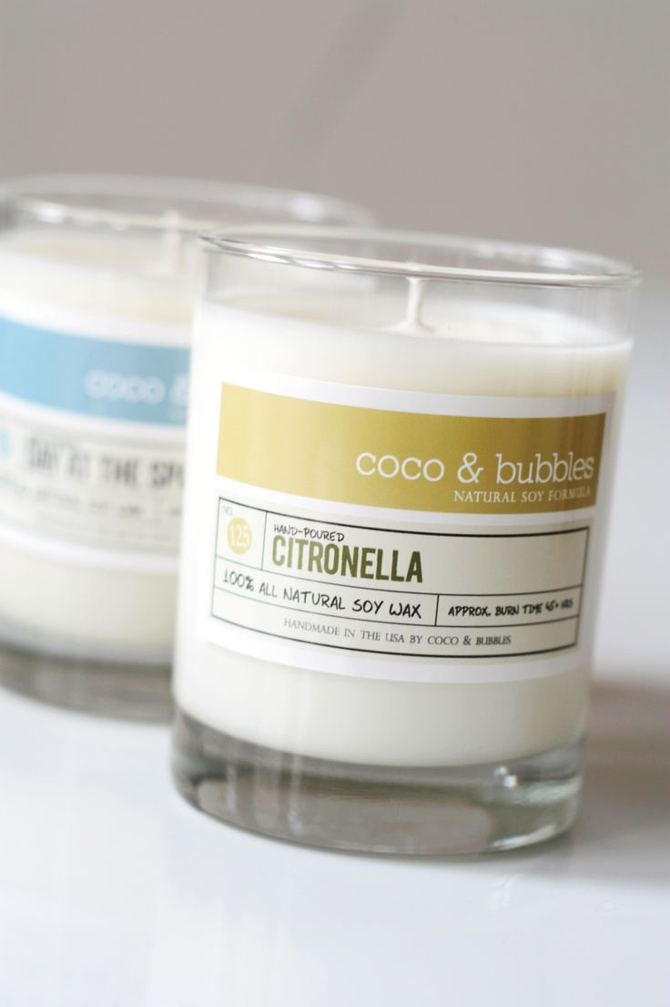 Courtesy of Coca & Bubbles.    Coco & Bubbles citronella soy candles will keep those irksome insects from crashing your party. Each candle is hand-poured using 100% soy wax infused with citronella essential oil. $16.50.   www.etsy.com/shop/CocoandBubbles