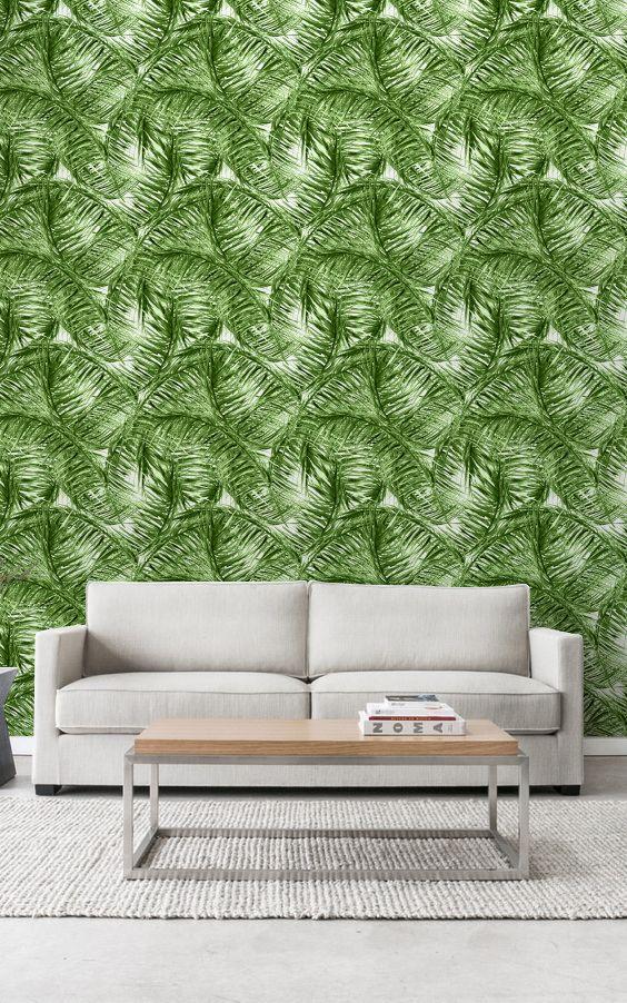 Tropische bladeren muur muurschildering, verwisselbare behang, bladeren Wallpaper, muur Sticker, huurders Wallpaper, tropische muur muurschildering, 265