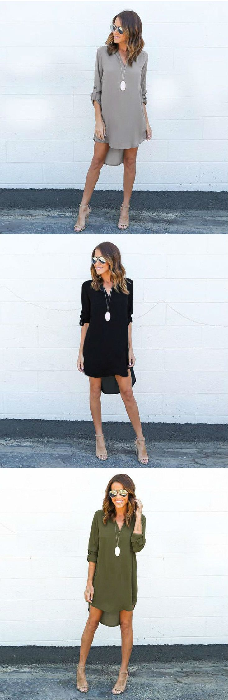 $23.99 Long Sleeves Mini Plain Dress