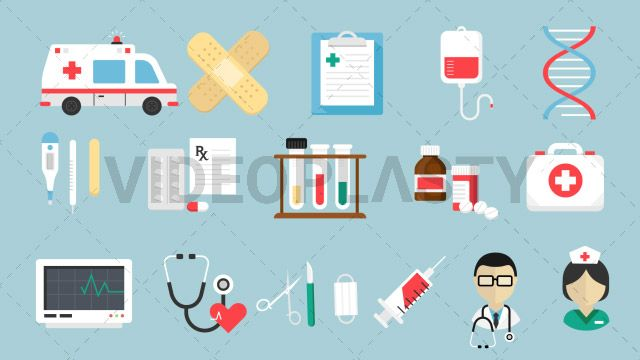 A collection of 16 different animated icons created in flat design style. Each item is also sold individually on the store. Includes: Ambulance Band Aid Clipboard DNA Doctor First Aid Kit Heart Rate Monitor IV Bag Medical Nurse Medicine Bottle Stethoscope Surgical Tools Syringe Tablets Test Tubes Thermometer Three version are included for each:in/out loop andin (can be extended with the loop version) Clip Length:10 seconds Loopable: Yes Alpha Channel: Yes Resolution:FullHD Format: Quicktime…