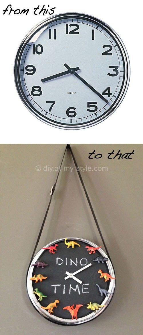 """Dino clock. example: """"It's quarter past triceratops."""""""