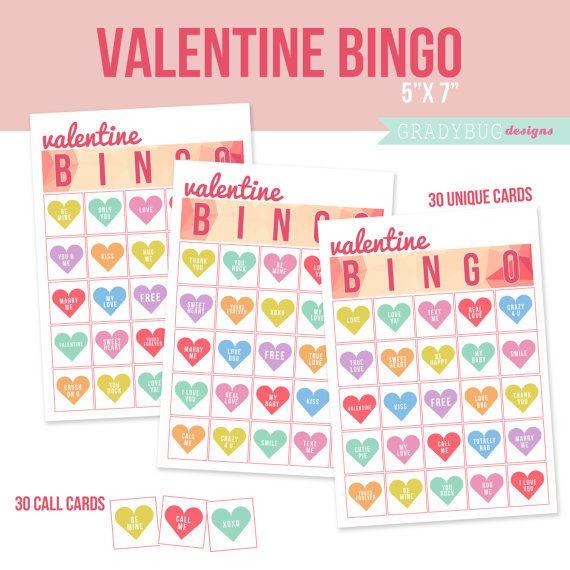 Valentine Bingo Cards Valentines Day Pinterest
