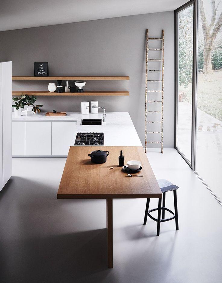 Reduzierte Küche im Neubau, Weiße Küche mit Koc … – #im #island #Koc # Küche …