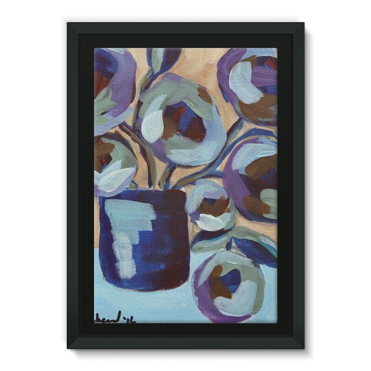 """""""Blue Abstract Floral"""" Framed Canvas"""