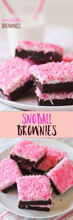 SNOBALL BROWNIES!! Love that pretty pink coconut on top. These are so good!
