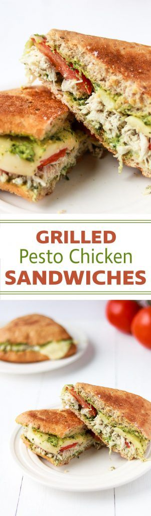 Grilled Pesto Chicken Sandwich | A delicious combination of toasty bread, pesto mayo, melty mozzarella cheese, shredded chicken and tomatoes.