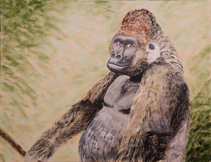 Silverback Gorilla, Acrylic on Canvas