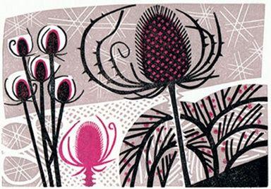 Winter Garden by Clare Curtis Linocut 13 x 19cm