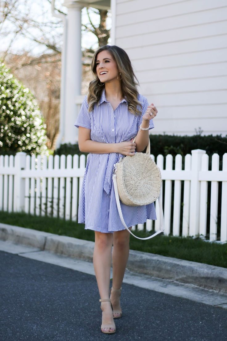 This blue striped dress is just $23! So cute for spring!