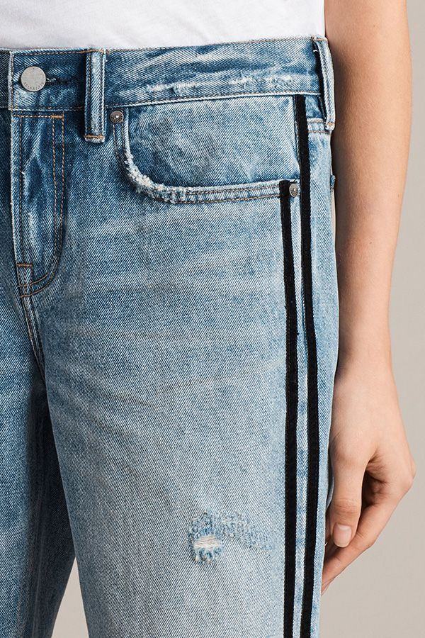 Classic denim infused with sport inspired stripe details