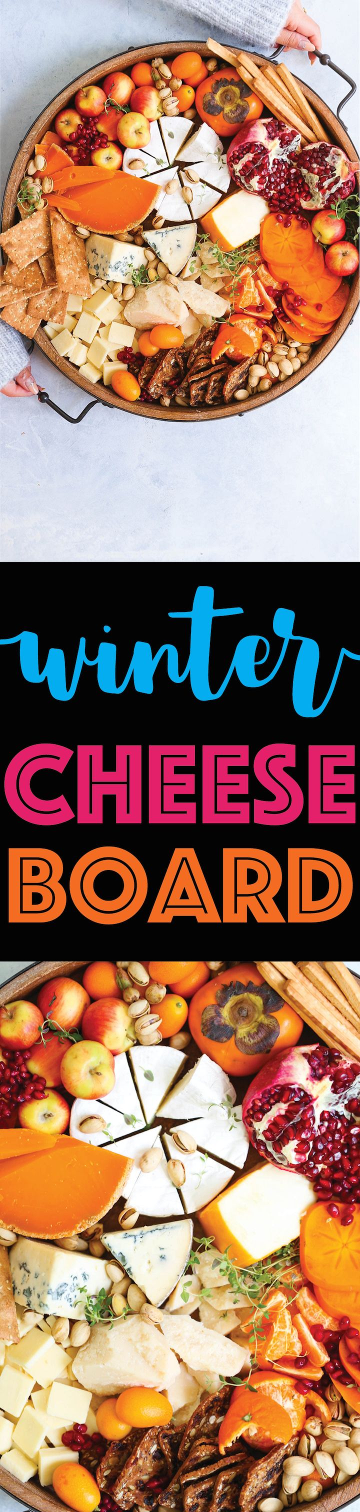 Winter Cheese Board - Your guests will be so impressed with this Winter harvest cheese board! It takes 10 minutes to prep and it has all of your favorite winter fruits, cheeses and crackers. And it serves a huge gathering without breaking the bank!