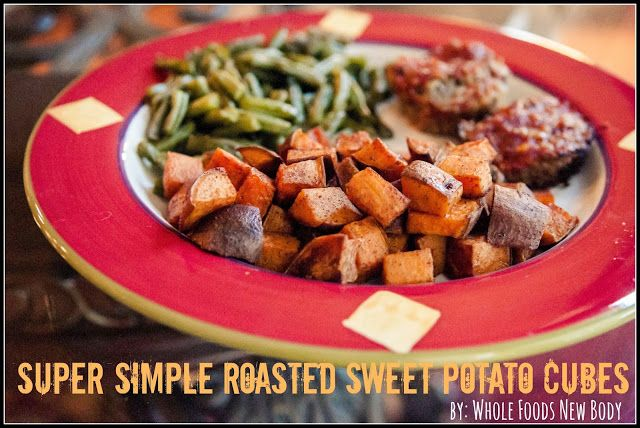 {Super Simple Roasted Sweet Potato Cubes} I make these every week!! So good and great leftover!
