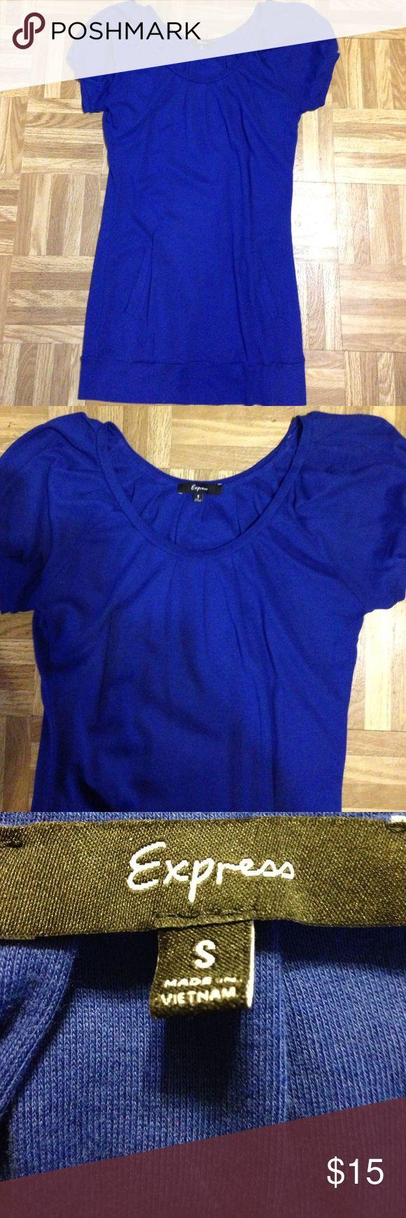 Really pretty tunic top by Express sz S Really pretty tunic top by Express sz S. Beautiful blue. Banded bottom   Kangaroo pocket.  Like new condition. Express Tops Tunics