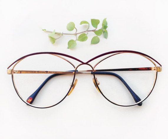 Casanova 24 k gold plated eyeglasses frames / rare designer luxury frames / Vintage Cat-eye frame / double bridge rare Eyewear / model 3067 by Skomoroki