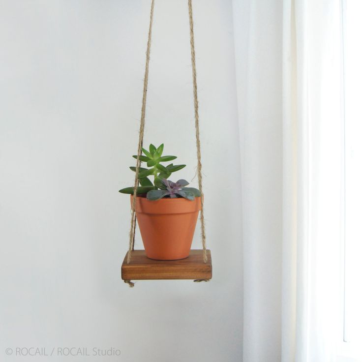 Reclaimed Wood & Jute Hanging Swing Shelf, Floating Shelving | Small Wooden Plant Stand, Holder, Hanger For Succulent Wall Planter by RocailStudio on Etsy