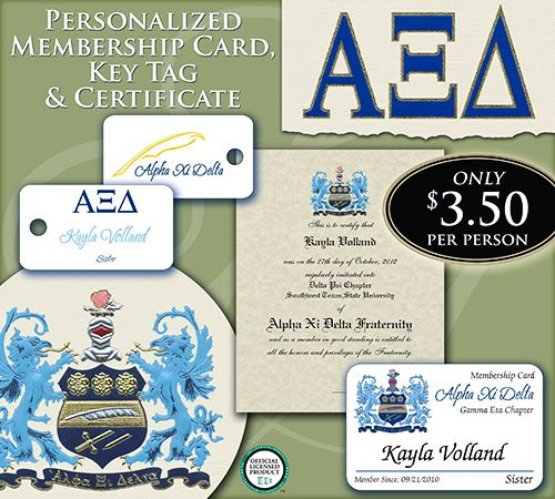 Signature Announcements provides membership cards, key tags, stationery and certificates for Alpha Xi Delta members.