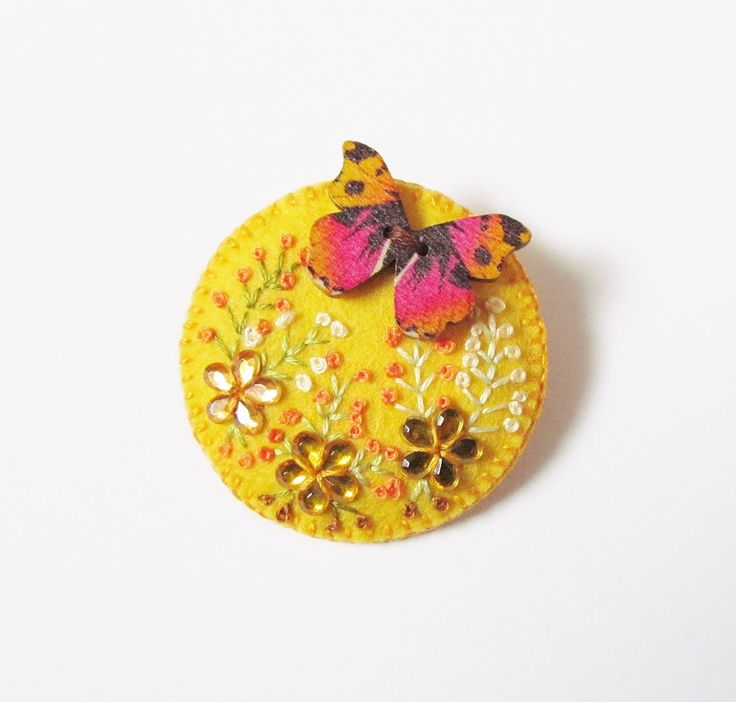 Felt Brooch - RED ADMIRAL - Embroidered Flowers With Butterfly - Accessory - Pin - Lovely Gift Idea by CherryPips on Etsy