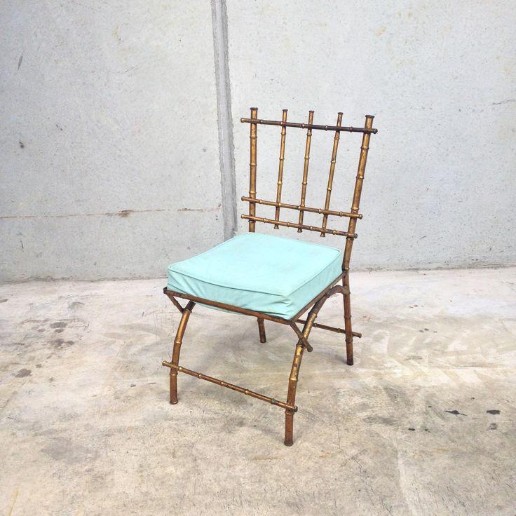 Hollywood Regency Style Gilt Bamboo Vanity Chair | e l l a g u r u