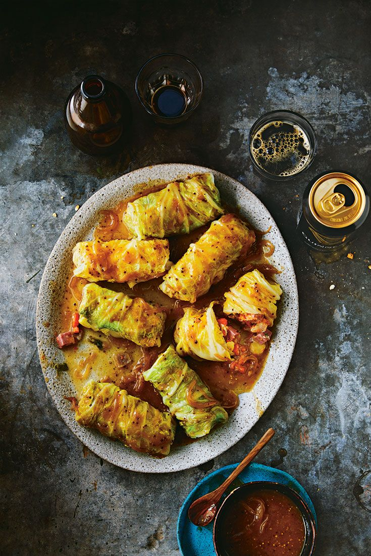 Think of this as a traditional boiled cabbage dinner wrapped in neat little parcels and bathed in a tangy, sweet sauce. To save prep time, pick up a chunk of corned beef at the deli.