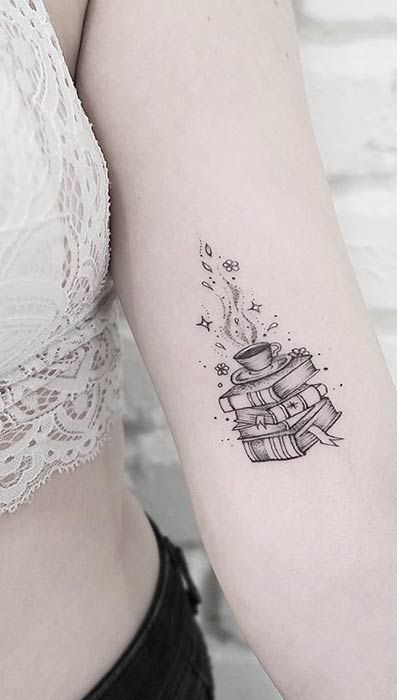 Stack of Books Small Tattoo Idea Stack of Book…