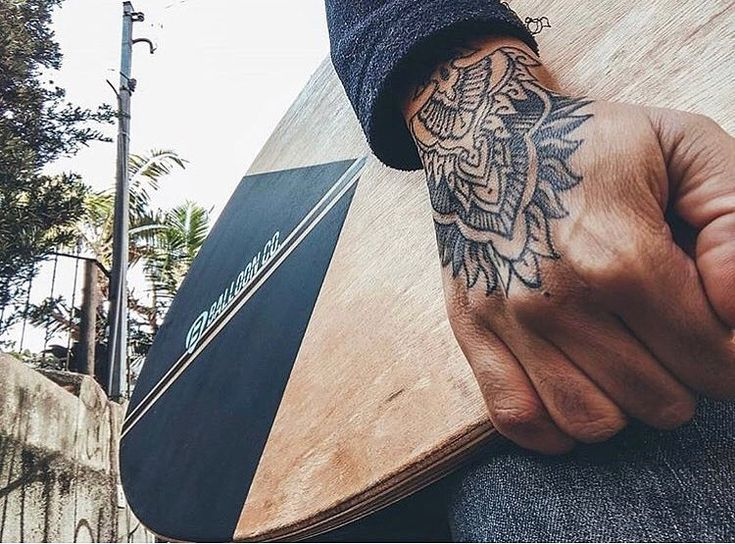 Male tattoos on the forearm and hand