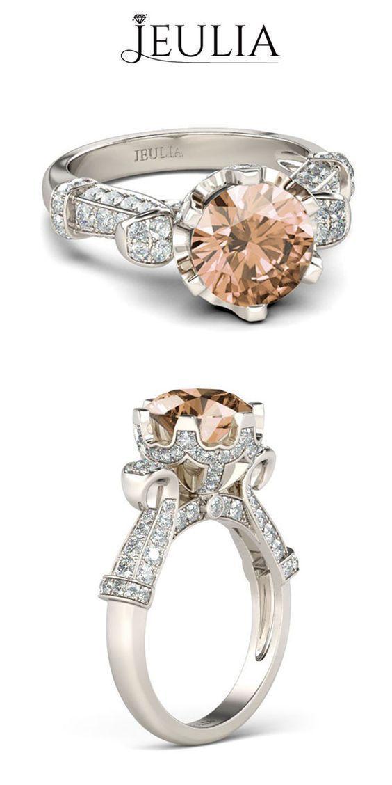 Jeulia Beautiful Petals Created Champagne Engagement Ring