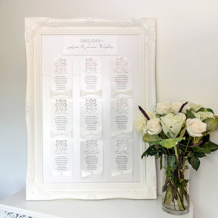 Framed pearl table seating plan
