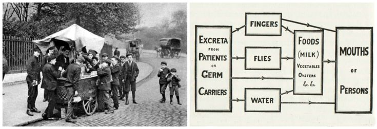 Diagram poster displayed in New York in 1916 during the polio epidemic + image from the time
