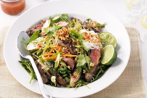 Asian-style beef salad, made by team Sarah at the Mt Hotham retreat