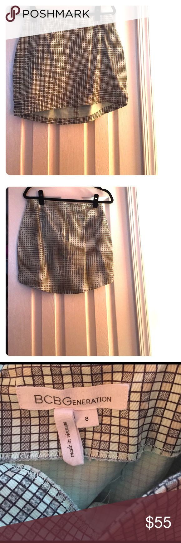 BCBGeneration Skirt This is a super cute mini skirt. Perfect for the spring and summer. The skirt is gray, sea foam green, and blush pink. Please see the last picture for an up close look at the print. This is a final sale no returns accepted. BCBGeneration Skirts Mini