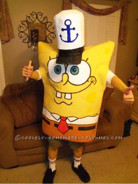 "Homemade Spongebob Halloween costume. This site is the ""Pinterest"" of homemade costumes."