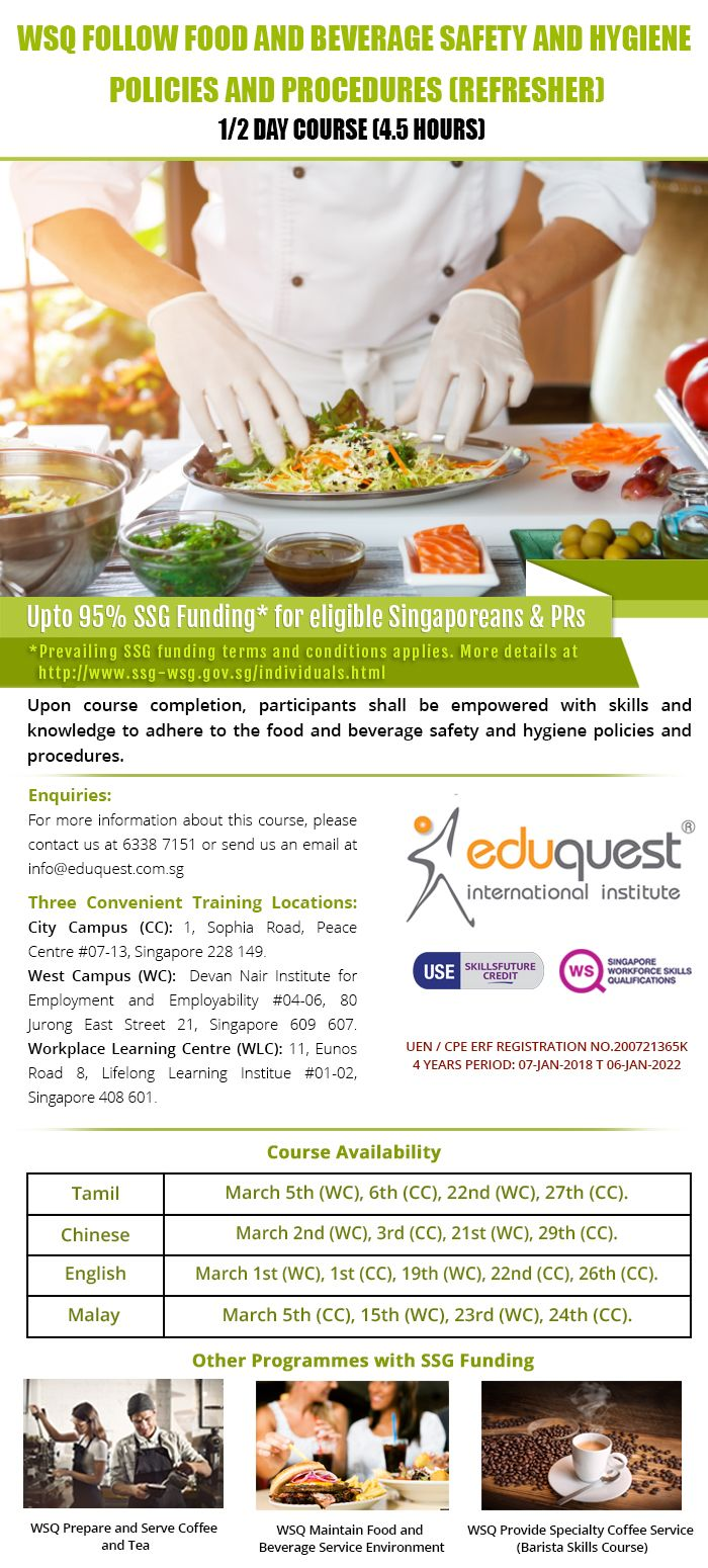 Wsq Refresher Basic Food Hygiene Course How To Apply Train