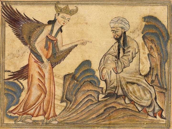 "Mohammed receiving revelation from the angel Gabriel. Miniature illustration on vellum from the book Jami' al-Tawarikh (literally ""Compendium of Chronicles"" but often referred to as The Universal History or History of the World), by Rashid al-Din, published in Tabriz, Persia, 1307 A.D. Now in the collection of the Edinburgh University Library, Scotland."