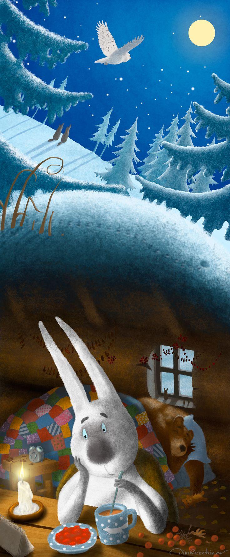 Winter  Зима  art • russian • illustration • calendar • drawing • artist • illustrator • fantasy