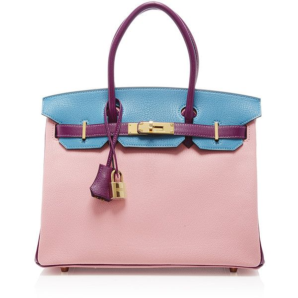 Heritage Auctions Special Collection Hermes 30cm Rose Confetti, Blue... ($33,800) ❤ liked on Polyvore featuring bags, handbags, leather purse, blue handbags, pink handbags, hermes purse and colorful purses